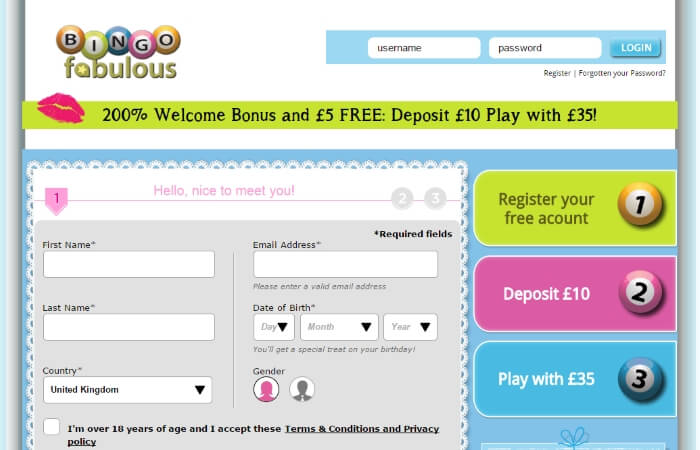 bingo fabulous | registration page | free bingo