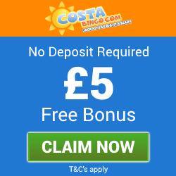 Costa Bingo   £5 Free Bingo Bonus - No Deposit Bingo