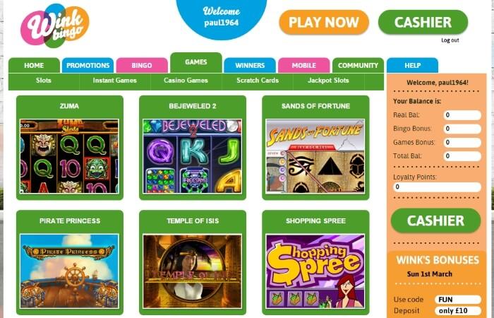 wink bingo | online slots | free bingo