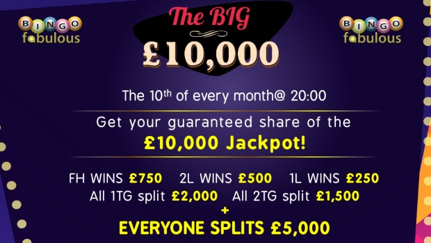 The Big £10,000 Game at Bingo Fabulous