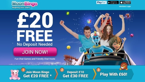 No Deposit Bonus – £20 Free at Moon Bingo