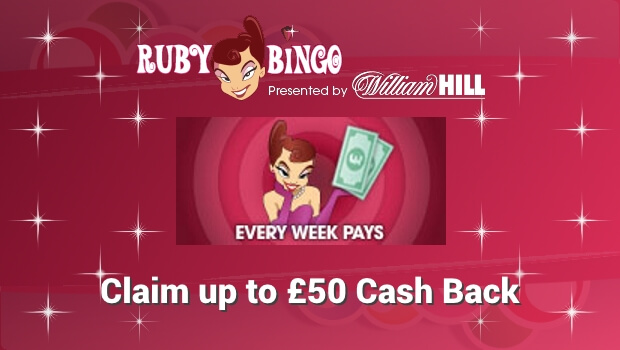 Claim up to £50 Cash Back with Ruby Bingo