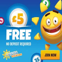 Costa Bingo | £5 Free Bingo Bonus - No Deposit Bingo
