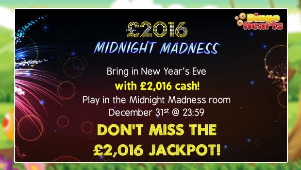 £2,016 Midnight Madness Jackpot at Bingo Hearts