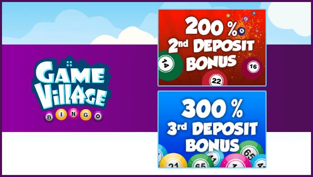 200% and 300% Reload Bonus at Game Village Bingo