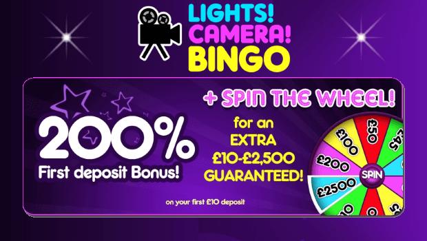 Get £20 Free with a £10 Deposit at Lights, Camera, Bingo