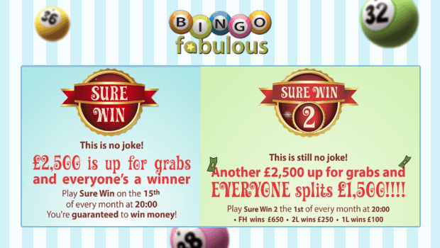 Bingo Fabulous | £2,500 Sure Win Jackpots