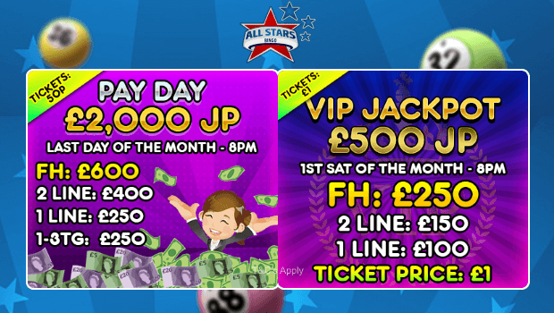 All Stars Bingo | Play Guaranteed Jackpot Online Bingo Games