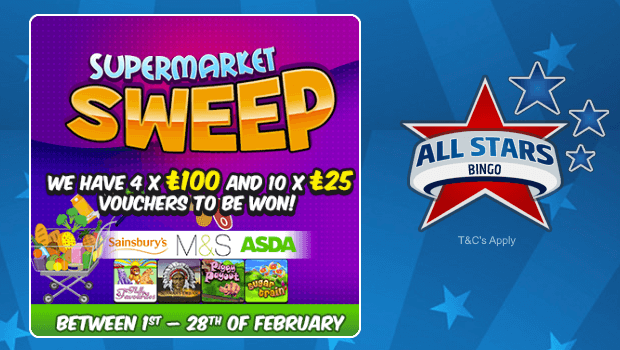 All Stars Bingo | £650 of Shopping Vouchers to be won. Bingo Bonus Offer