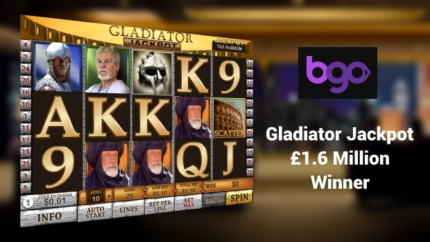 BGO Casino | Gladiator Jackpot winner of £1.6 Million