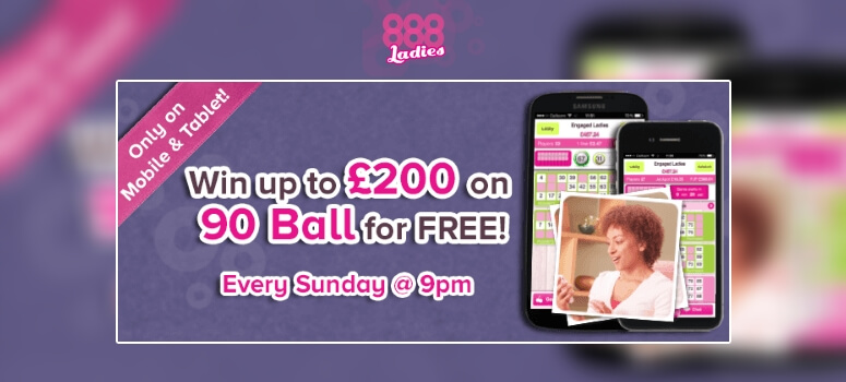 888 Ladies | Free £200 mobile bingo game