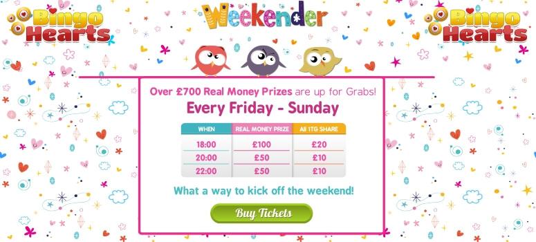 Bingo Hearts | £700 weekender bingo games